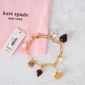 NWT Kate Spade Strawberries Charm Bracelet *RARE*